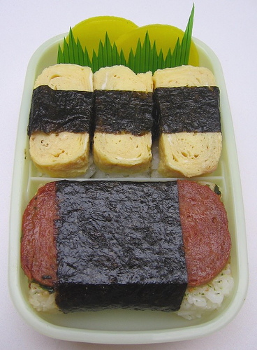 Spam musubi bento