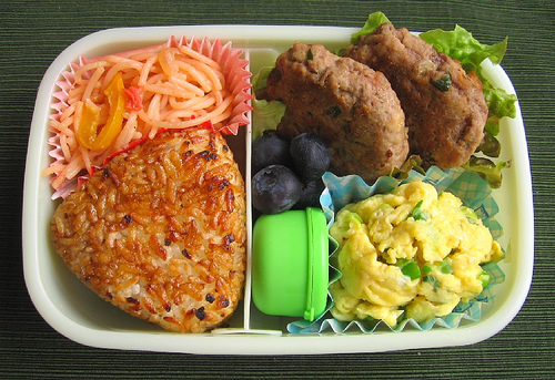 Speed Bento: scrambled egg purses