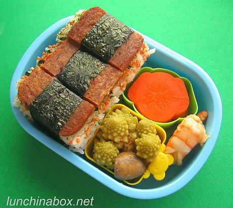 Spam musubi bento lunches