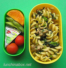 Sausage & broccoli rabe pasta lunch for preschooler