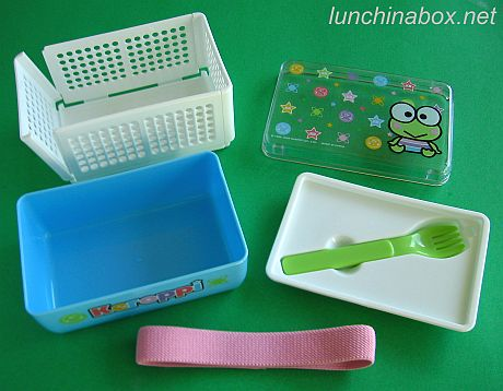 Keroppi combo bento box and collapsible sandwich case (exploded)