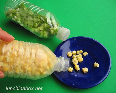 Speed tip: Frozen corn in plastic drink bottles