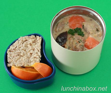 Pork, fennel and prune stew bento lunch for preschooler