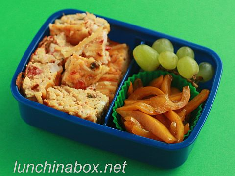 Pasta frittata bento lunch for child