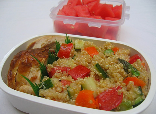 Quinoa salad and watermelon lunch
